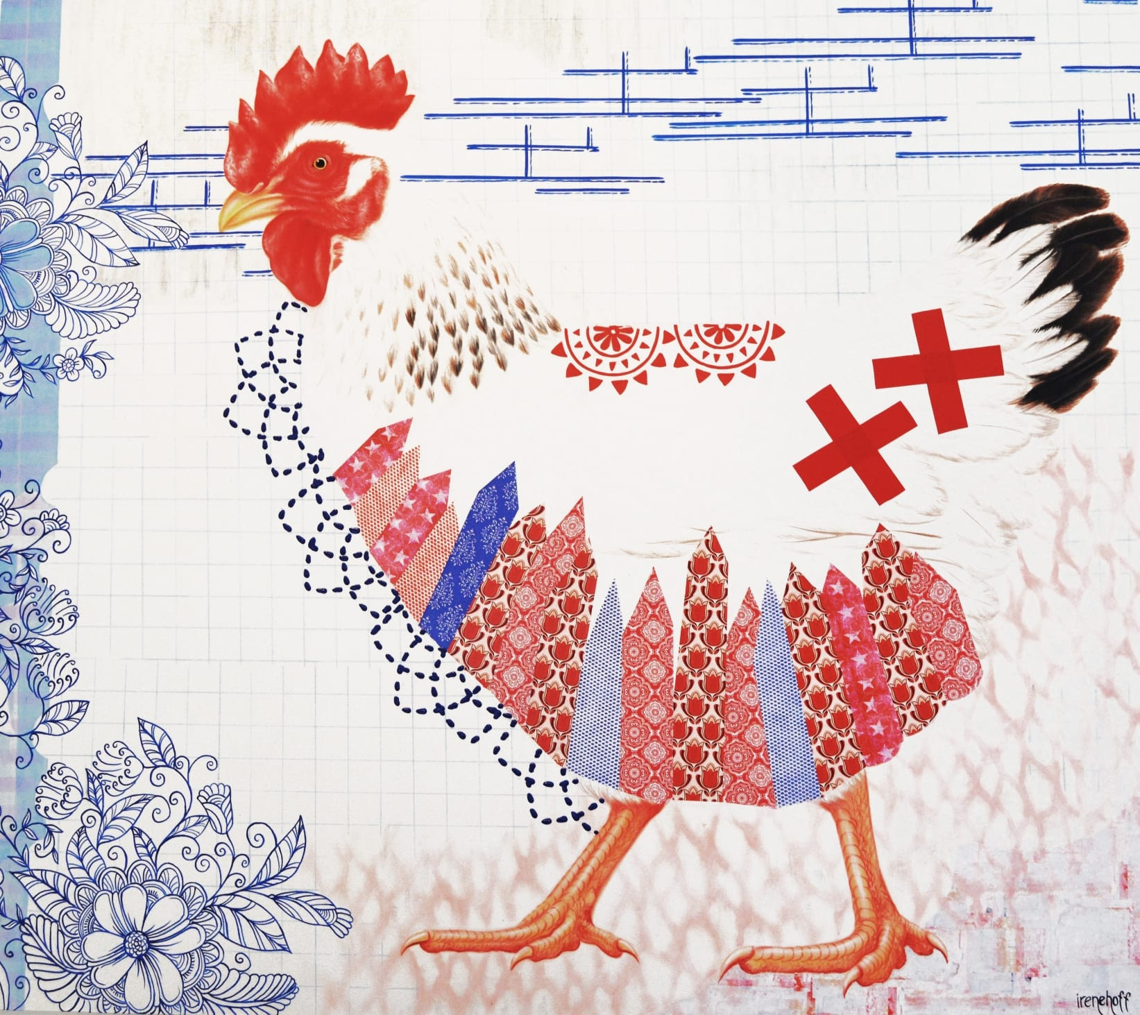 CHICKEN ON A MISSION 120×160 cm